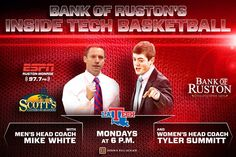 LA Tech Fans come check out the first Bank of Ruston Coaches' show with Mike White and Tyler Summit at 6pm every Monday located at Scott's Catfish off of Farmerville Hwy. #WeAreLATech