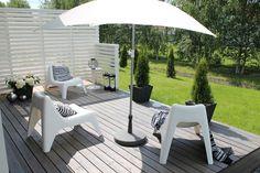 Home White Home: Terassiprojektin lopputulos Outdoor Spaces, Outdoor Decor, White Houses, Backyard, Inspiration, Home Decor, Gardening, Dreams, Courtyards