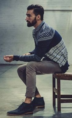 Navy Fair Isle Cardigan, Green Chinos, and Blue Suede Chukka Boots. Men's Fall Winter Fashion.