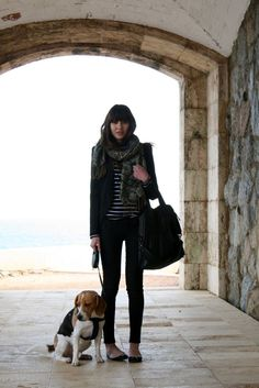 love this look + the adorable beagle