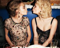 "Cara Delevingne & Pixie Geldof in ""Dinner with Dolce & Gabbana"" by Terry Richardson for Harper's Bazaar April 2012 Pixie Geldof, Cara Delevingne, Anna Dello Russo, Dolce & Gabbana, Nicolas Ghesquiere, Vogue, Terry Richardson, Spring Summer, Spring 2014"