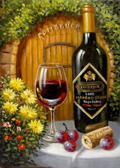 Romantic Realism artwork by Northern California artist Imre Buvary featuring landscapes and wine still life's of the Napa Valley. Rice Paper Decoupage, Dining Etiquette, Wine Tasting Party, Wine Craft, Wine Quotes, Cellphone Wallpaper, Learn To Paint, Gouache, Painting On Wood