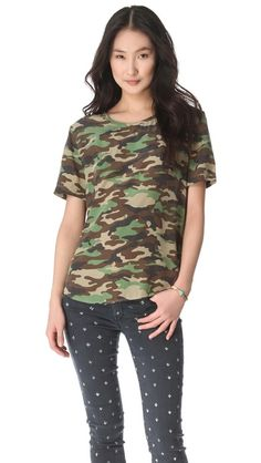 Equipment Riley Camo Silk Tee + patterned jeans