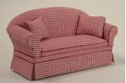 Ashley Red Check Sofa | Mary's Dollhouse Miniatures