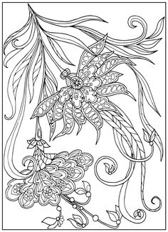 Coloring book for adult and older children. Coloring page with vintage flowers…