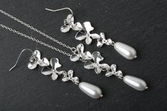 Bridal Jewelry Set, Orchid Jewelry Set, Maid of Honor Gift, Drop Pearl jewelry, Orchid earrings, Orchid necklace, wedding jewelry by CharmanteBijoux on Etsy