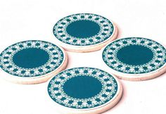 Teal coaster set  4 Teal coasters great christmass by StudioDhouse, $28.00