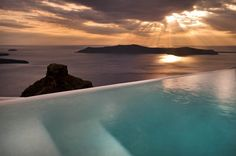 Sunset in Santorini from the pool