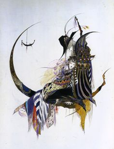 elosilla:  Yoshitaka Amano, japanese graphic artist and character designer, usually made his illustrations with ink and watercolor. Well known for designing characters for video games such as Final Fantasy, or his artwork in Sandman or Vampire Hunter D.