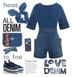 """All Denim"" by ellie366 ❤ liked on Polyvore featuring MSGM, STELLA McCARTNEY, Rebecca Minkoff, Dorothy Perkins, Valentino, playsuit, Denimondenim, denimoveralls and alldenim"