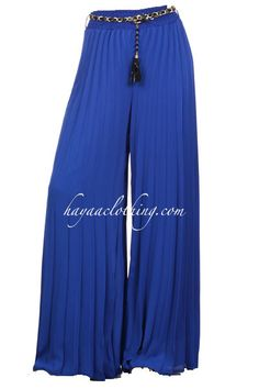 Hayaa ~ Chiffon Accordion Pleats Wide-leg Palazzo Pants - Royal Blue S M L Wide Leg Palazzo Pants, Wide Leg Pants, Casual Outfits, Casual Clothes, Royal Blue, Pants For Women, Pajama Pants, Chiffon, Blue And White