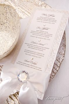 Textured White and bling Menu Card