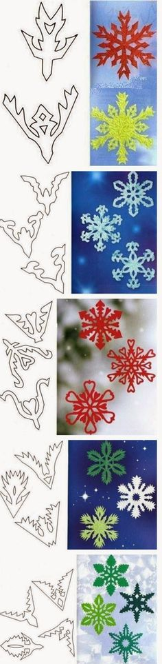 Tutorial to make beautiful snowflakes, paper. Snowflake Template, Snowflake Pattern, Diy Paper, Paper Art, Paper Crafts, Christmas Holidays, Christmas Decorations, Christmas Ornaments, Diy And Crafts