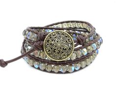 Leather Wrap Bracelet with Taupe AB Czech by LucidDreamsJewelry, $30.00