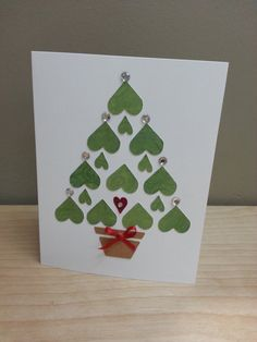 5 x 7 Blank Hearts Xmas Tree by CatMonkeyDesign on Etsy Cute Christmas Cards, Stamped Christmas Cards, Homemade Christmas Cards, Christmas Crafts For Kids, Xmas Cards, Homemade Cards, Holiday Cards, Holiday Decor, Christmas Scrapbook Layouts