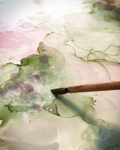 detail of kriya mixed media alcohol ink abstract art by north carolina artist amanda moody
