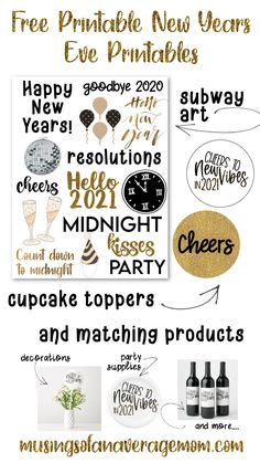 Free Printable 2020/2021 New Years Eve Printable including circle labels, subway art and matching party supplies. Kids New Years Eve, New Years Eve Games, New Years Eve Party, Traditions To Start, Family Traditions, Party Printables, Free Printables, New Year's Eve Crafts, Cheer Party
