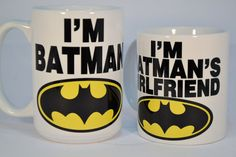 I'm batman and i'm batman's wife,funny mugs,funny coffee mugs,wife gift,custom… Funny Coffee Mugs, Coffee Humor, Funny Mugs, Batman Girlfriend, Girlfriend Humor, Boyfriend Girlfriend, Boyfriend Birthday, Personalized Coffee Mugs, Personalized Wedding Gifts