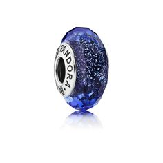 Charm Vetro di Murano Sfaccettato Blu Iridescente - Pandora IT |
