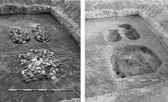 """Stendyngegrave. Nogle af fortidens mest gådefulde grave er de såkaldte """"stendyngegrave"""" fra bondestenalderen.  De blev anlagt i perioden 3100-2800 f.v.t., og de består stenfyldte fordybninger (der har givet dem navnet stendyngegrave) placeret ved et lille """"dødehus"""" under et lag af sten. De er ofte lagt ved siden af hinanden eller i forlængelse af hinanden, så de udgør lange rækker. En enkelt række ved Skive når op på henved 1700 meter!  Stendyngegrave under udgravning ved Herrup…"""