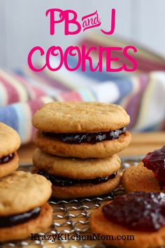 Two homemade peanut butter cookies sandwiched together with sweet grape jelly make the best Peanut Butter and Jelly Cookies. Homemade Peanut Butter Cookies, Best Peanut Butter, Cookie Recipes, Dessert Recipes, Jelly Desserts, Jelly Cookies, Sugar Cookies, Frozen Cookie Dough, Unique Recipes
