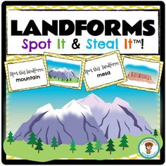 $ Cards double up as word wall cards. The amazing visuals help students recall the names of 12 landforms: butte, cavern, glacier, hill, mesa, mountain, plains, plateau, arch, dunes, valley and volcano Trinity Preschool, Preschool Science, Teaching Science, Science For Kids, Teaching Tools, Teaching Ideas, 4th Grade Social Studies, 8th Grade Science, Teaching Social Studies