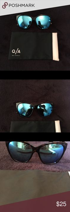 Quay ABOUT LAST NIGHT Sunglasses Tortoise shell frames with reflective blue lenses. Fun and fashionable sunnies. Only worn a couple of times. Compliments fall fashion! 😎 Quay Australia Accessories Sunglasses