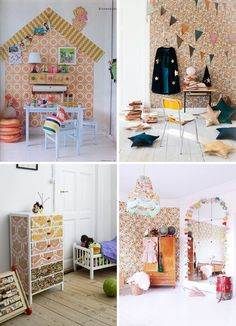 Vintage wallpaper kids room - orange