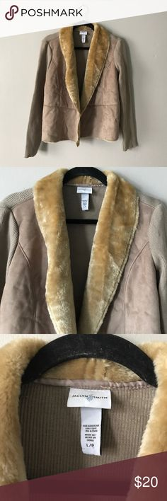 """Jaclyn Smith Brown Suede Fur Sweater Jacket Beautiful jacket with ribbed knit sweater long sleeves. Suede front and back. Lined with faux fur. 20"""" arm pit to arm pit. 22.5"""" long. 26"""" arm length. In excellent condition! Color is as shown (a Taupe Brown) Jaclyn Smith Jackets & Coats Blazers"""