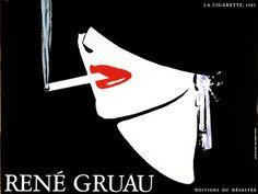René Gruau, Cigarette Poster, France, 1983