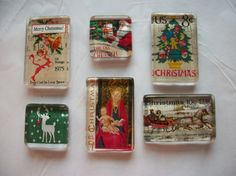 6 Christmas Vintage US Postage Stamp Glass Magnets by BadCatCraft