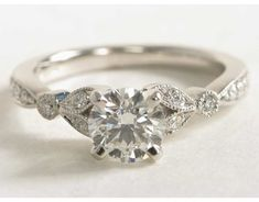 Petite Vintage Pavé Leaf Diamond Engagement Ring in 14k White Gold (1/4 ct. tw.) | Blue Nile