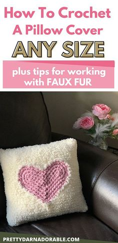 This free crochet heart pillow pattern for valentines is really easy to make even for a beginner.  Choose your favourite faux fur or any of your favourite yarns and make it to fit any size cushion following the step by step crochet pattern and easy tutorial on my blog.  This How to Crochet a Pillow Cushion pattern will guide you through a few easy steps to make custom sized cushion cover you want.  Crochet heart video also included