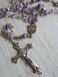 Antique French Rosary Lavender Givre Faceted by GrandAndTaylor