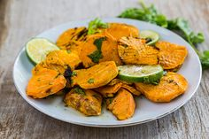 This healthy veggie side dish is made with sweet potatoes that have been peeled and sliced into rounds.