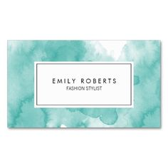 Creative Teal Watercolor Fashion Stylist Business Cards (Pack Of 100)