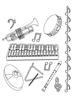 Musical-instruments Coloring Pages for kids. Musical-instruments Coloring Pages. 33 coloring pages of Musical Instruments. Preschool Music, Music Activities, Teaching Music, Cool Coloring Pages, Free Printable Coloring Pages, Coloring Sheets, Barbie Music, Instruments Of The Orchestra, Music Worksheets