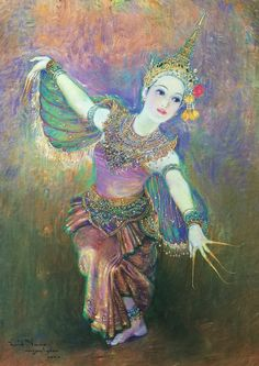 """Dance of Manorah"", 2000, oil on canvas, by a Thai national artist Chakrabhand Posayakrit"
