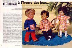PAR AMOUR DES POUPEES :: M&T 1973-02 A l'heure des jeux, Tenues pour Marie-Françoise, Michel et Jean-Michel (couture)