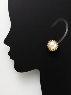 David Webb Gold & Mabe Pearl Floral Earrings