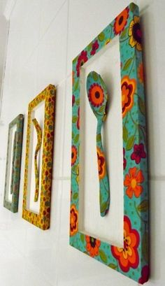 Kitchen Decorating Ideas and Utensils - Ideias para a casa - I will bring to this publication ideas for decorating and utensils with recyclable things for the k - African Crafts, African Home Decor, Diy Crafts For Home Decor, Arts And Crafts, Diy Wall Art, Diy Art, Diy Para A Casa, Painted Spoons, Cardboard Crafts