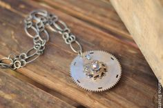 Large Typewriter Parts Medallion on Wide Loopy Chain by lilacpop, $109.00