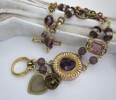 Vintage Purple Assemblage Bracelet  Upcycled by jryendesigns.etsy.com