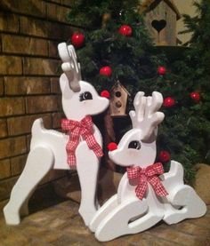 Wood Christmas Reindeer Holiday Decor Porch Decor