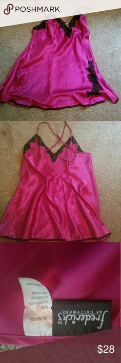NWOT Frederick's of Hollywood hot pink Chemise NWOT Frederick's of Hollywood hot pink Chemise w/ black lace.  Gorgeous. Tried on once unfortunately too big. No rips, holes etc. Frederick's of Hollywood Intimates & Sleepwear Chemises & Slips