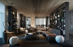 10 Dashingly Contemporary Living Room Designs Arrange With Creative and Perfect Decoration Living Room Interior, Living Room Decor, Living Rooms, Living Area, Wood Ceiling Panels, Ceiling Spotlights, Plafond Design, Living Room Inspiration, Stil Inspiration