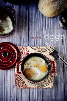 one of my favorites, baked eggs. Try it with a layer of ham or canadian bacon underneath!