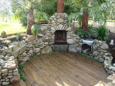 Outdoor Stone Outdoor Fireplace