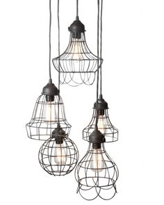 Cluster of wire pendant lights for corner.  This would be the fun, quirky and funky side for the pumpkins ... check your attic, basement and garage ... thanks