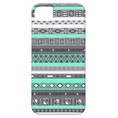 Tiffany Grey Aztec Mint Indian Pattern iPhone Case iPhone 5 Cover